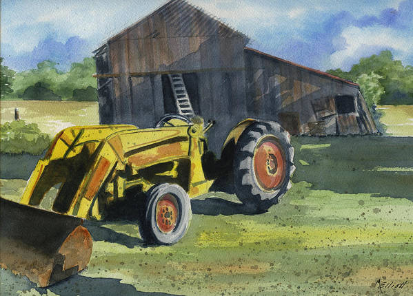 Farm Poster featuring the painting Neighbor Dons Tractor by Marsha Elliott
