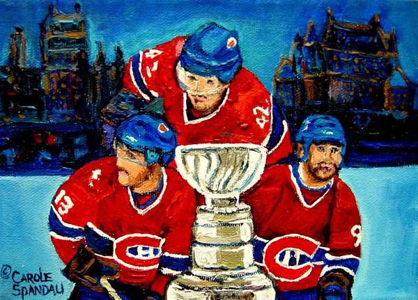 Poster featuring the painting Stanley Cup Win In Sight Playoffs  2010 by Carole Spandau