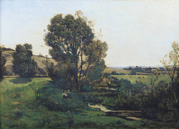 View Poster featuring the painting View From Moncel-sur-seine by Henri-Joseph Harpignies