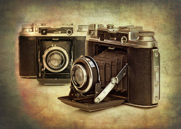 1945 Poster featuring the photograph Vintage Cameras by Meirion Matthias