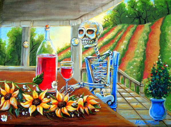 Day Of The Dead Poster featuring the painting Napa Wine Skeleton by Heather Calderon