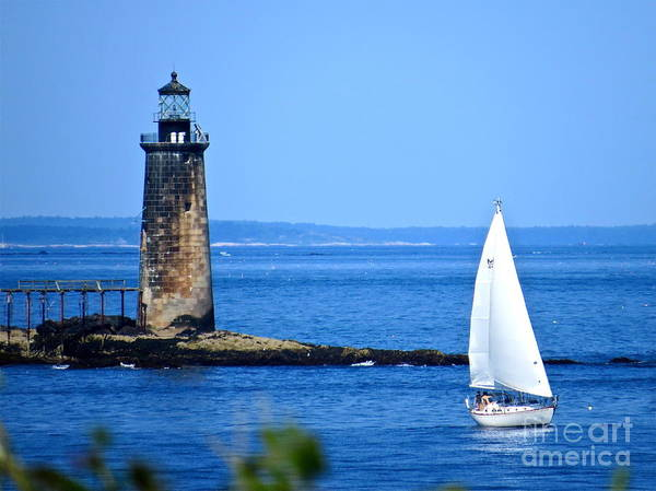 Ram Island Ledge Light Poster featuring the photograph Sailing By Ram Island Light by Nancy Patterson