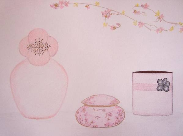Pink Flowers Poster featuring the drawing The Scent Of Pink by Christine Corretti