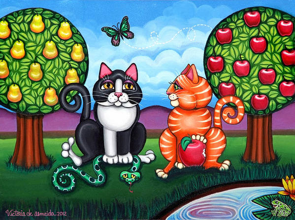 Cat Poster featuring the painting Atom And Eva by Victoria De Almeida