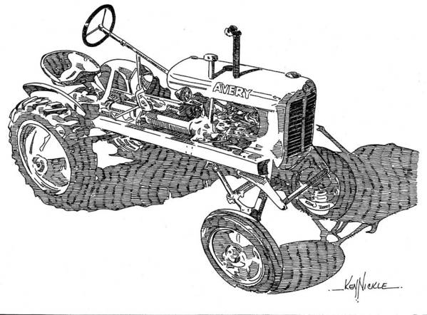Tractor Poster featuring the drawing B F Avery V by Ken Nickle