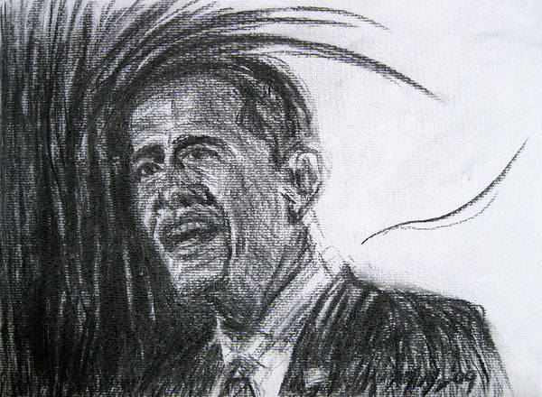 Barack Obama Poster featuring the drawing Barack Obama 1 by Michael Morgan