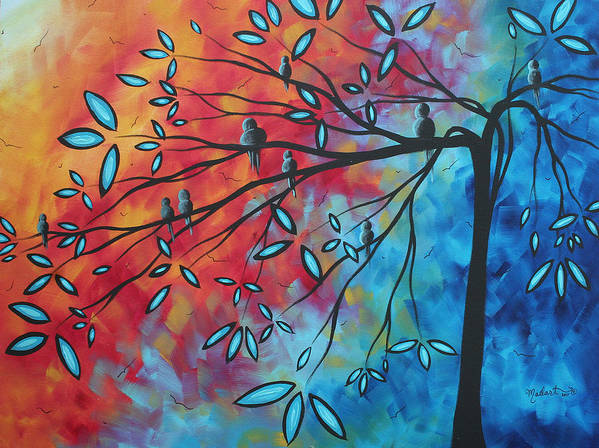 Art Poster featuring the painting Birds And Blossoms By Madart by Megan Duncanson
