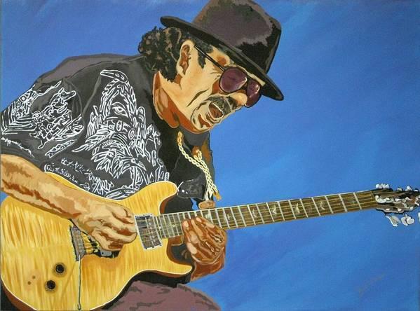 Carlos Santana Poster featuring the painting Carlos Santana-magical Musica by Bill Manson