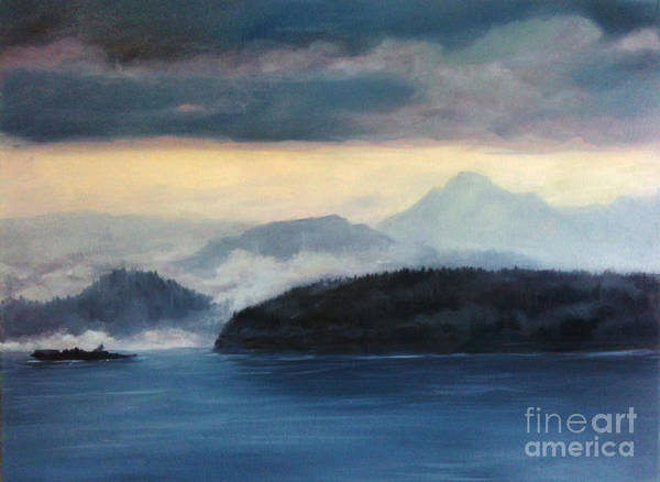 Anacortes Wa Poster featuring the painting Foggy Day In Anacortes by Eve McCauley