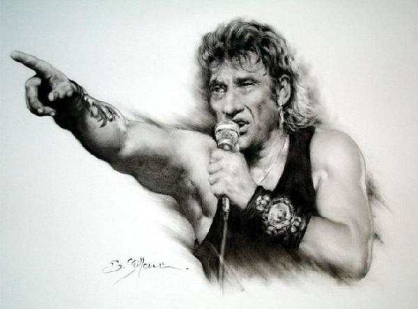 Johnny Halliday Poster featuring the drawing Johnny Halliday by Guillaume Bruno