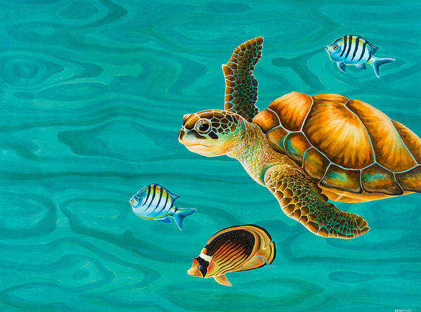Emily Brantley Poster featuring the painting Kauila Sea Turtle by Emily Brantley