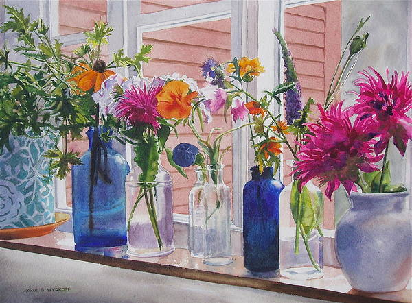 Geraniums Poster featuring the painting Kitchen Window Sill by Karol Wyckoff