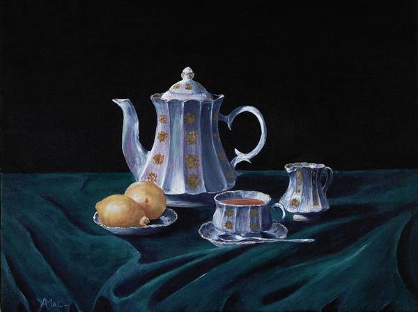 Cup Poster featuring the painting Lemons And Tea by Anastasiya Malakhova