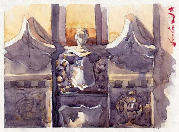 Architecture Classic Gothic Armor Soldier Knight Bas Relief Sculpture Statue Accent Decoration Building Brick Concrete Stone Watercolor Watercolour Color Colour Paint Art Painting Blue Grey Silver Yellow Vintage Chicago City Downtown Profile Medieval Church Poster featuring the painting Lone Guardian by Max Good