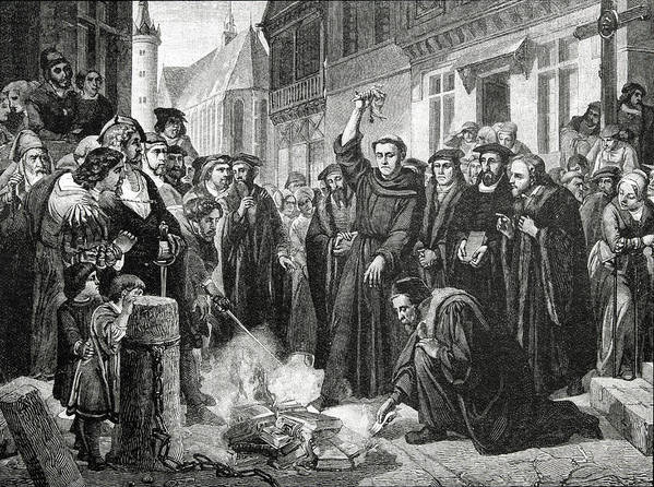 German; Theologian; Reformer; Initiated The Protestant Reformation; Founded Protestantism; Priest; Friar; Revolutionary Poster featuring the drawing Martin Luther 1483 1546 Publicly Burning The Pope's Bull In 1521 by English School