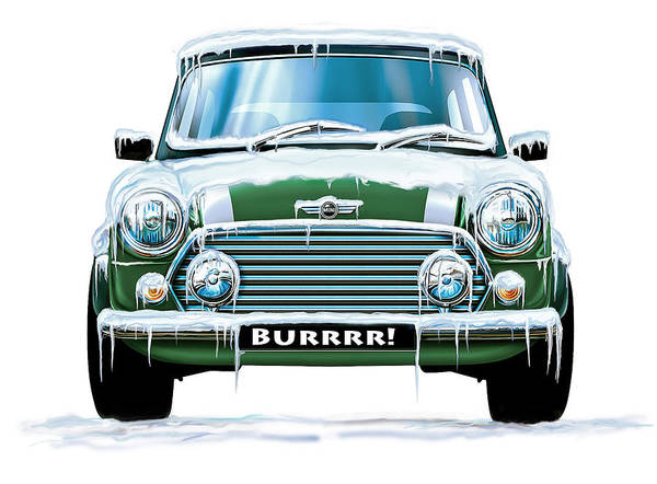 Mini Poster featuring the digital art Mini Cooper On Ice by David Kyte