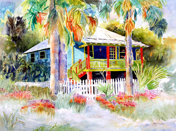 Landscape Painting Poster featuring the painting Old Florida House by Joan Dorrill