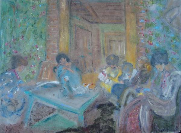 Edouard Vuillard Poster featuring the pastel On The Terrace by Karen Coggeshall