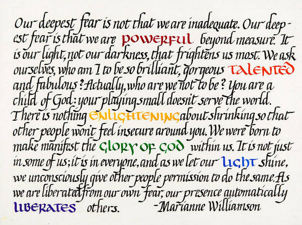 Calligraphy Poster featuring the mixed media Our Deepest Fear by Sondra Venable