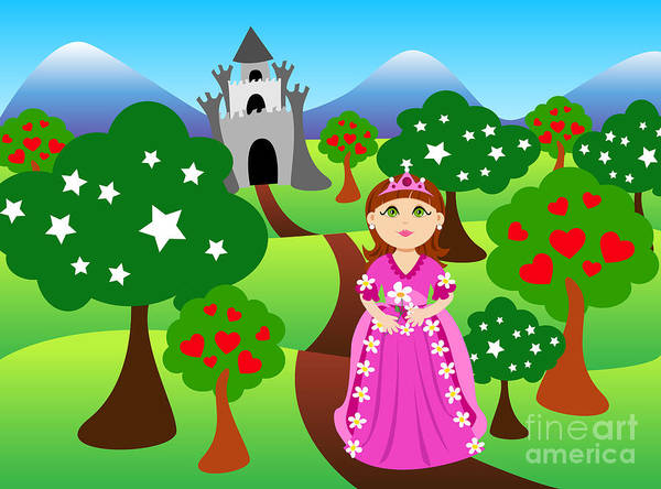 Cartoon Poster featuring the digital art Princess And Castle Landscape by Sylvie Bouchard