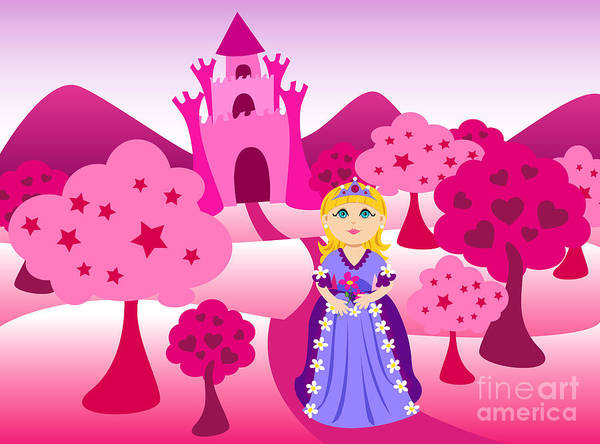 Cartoon Poster featuring the digital art Princess And Pink Castle Landscape by Sylvie Bouchard