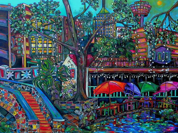 Riverwalk Poster featuring the painting Riverwalk by Patti Schermerhorn