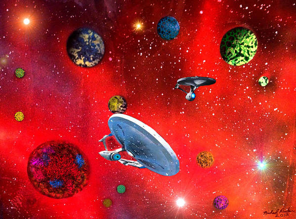 Star Trek Poster featuring the painting Star Ships by Michael Rucker