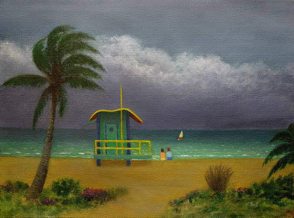 Tropical Poster featuring the painting Storm Watchers by Gordon Beck