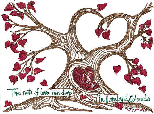 Tree Poster featuring the drawing The Roots Of Love by Minnie Lippiatt