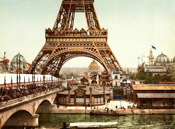 Tour Eiffel Poster featuring the digital art Tour Eiffel And Exposition Universelle Paris by Georgia Fowler