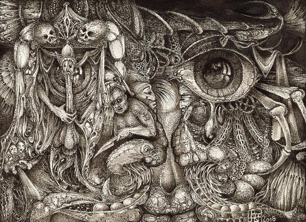Surreal Poster featuring the drawing Tripping Through Bogomils Mind by Otto Rapp