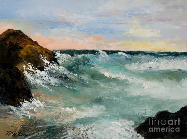 Landscapes Poster featuring the painting Twilight Surf by Larry Martin