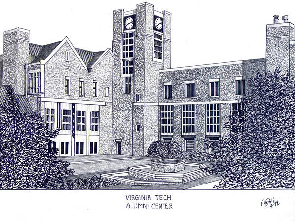 Pen And Ink Drawings Poster featuring the drawing Virginia Tech by Frederic Kohli