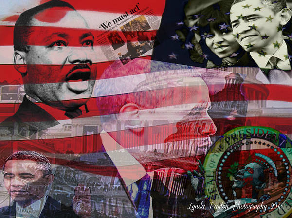 Barack Obama Prints Poster featuring the digital art We Must Act by Lynda Payton