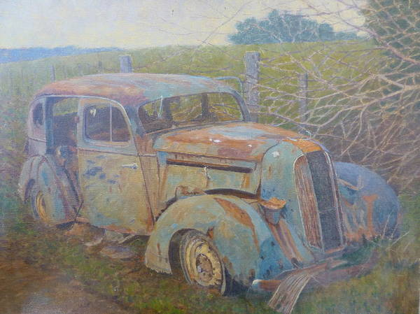Cars Poster featuring the painting Yesteryear Catlins 1980s by Terry Perham