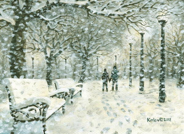 Snowing Poster featuring the painting Snowing In The Park by Kalen Malueg
