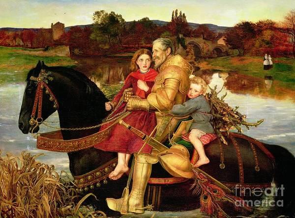 A Dream Of The Past: Sir Isumbras At The Ford Poster featuring the painting A Dream Of The Past by Sir John Everett Millais
