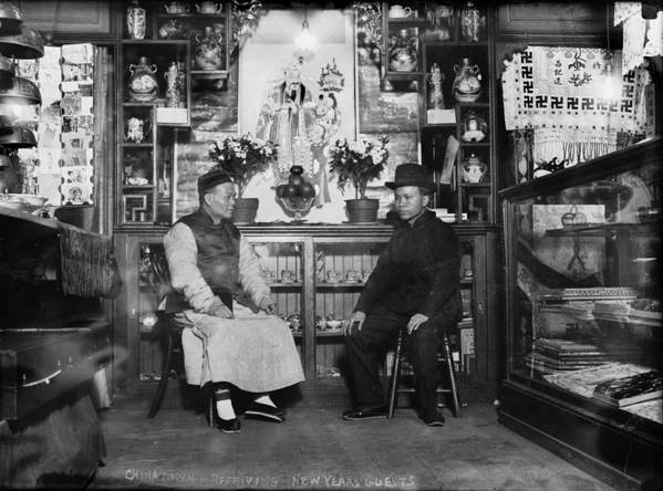 1920s Candid Poster featuring the photograph Chinatown, Receiving New Years Guests by Everett