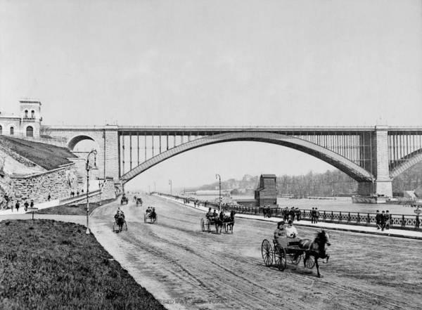george Washington Bridge Poster featuring the photograph Harlem River Speedway Scene Beneath The George Washington Bridge by International Images