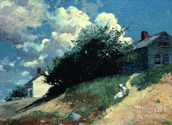 Houses On A Hill Poster featuring the painting Houses On A Hill by Winslow Homer