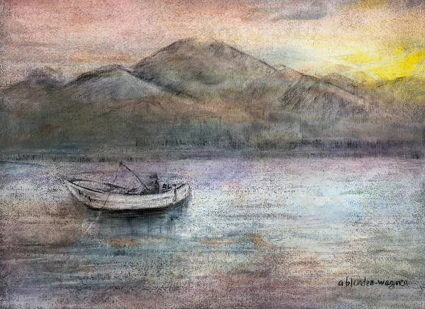 Fishing Poster featuring the pastel Lone Fisherman by Arline Wagner