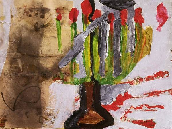 Fine Art Poster featuring the painting Menorah by Iris Gill