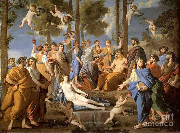 Greek Myth Poster featuring the photograph Parnassus, Apollo And The Muses, 1635 by Photo Researchers