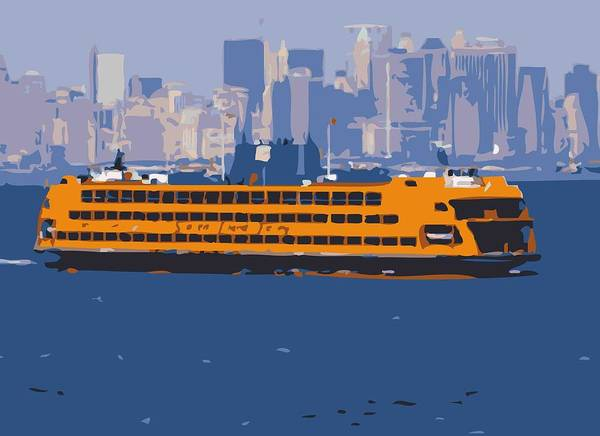 New York City Fire Escapes Poster featuring the photograph Staten Island Ferry Color 16 by Scott Kelley