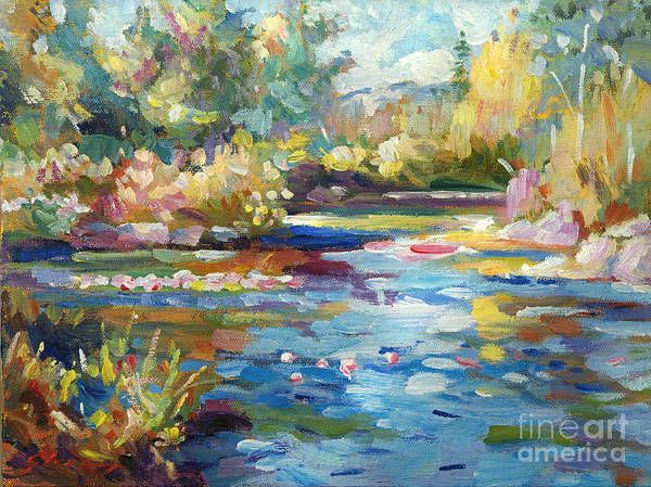 Impressionist Poster featuring the painting Summer Pond by David Lloyd Glover