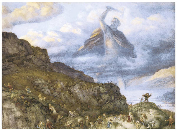 Richard Doyle Poster featuring the painting The God Thor And The Dwarves by Richard Doyle