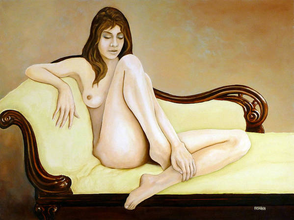 Nude Poster featuring the painting The Long Pose by Tom Morgan