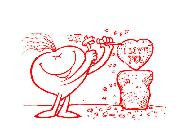 Love Poster featuring the drawing Mr Redhair Serie by Nato Gomes