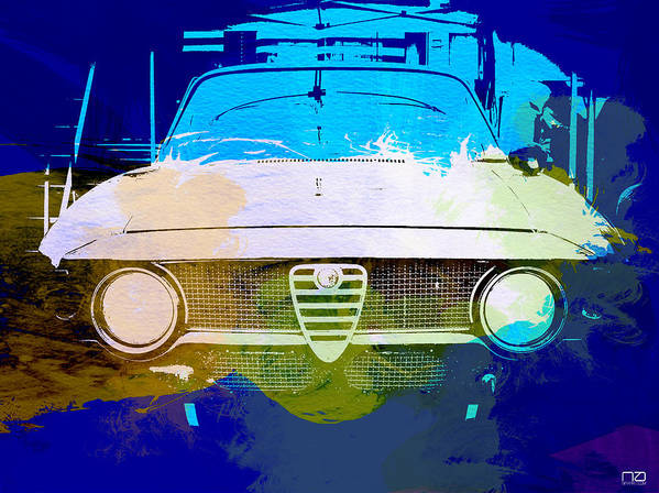 Poster featuring the photograph Alfa Romeo Watercolor by Naxart Studio