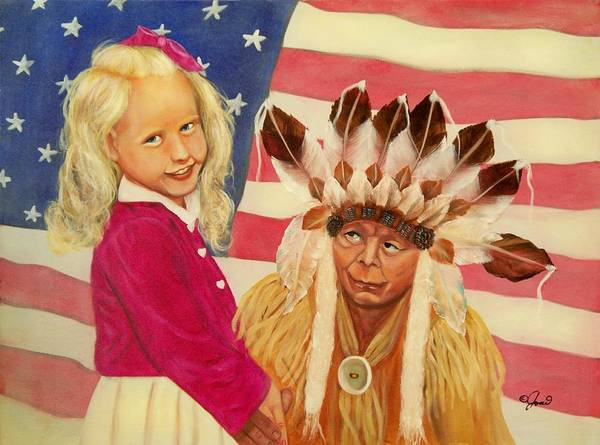 Portraits Poster featuring the painting Americans New And Old by Joni McPherson
